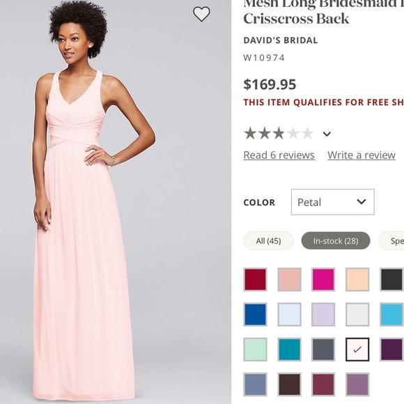 26b75c9e5f David s Bridal Dresses   Skirts - Mesh Long Bridesmaid Dress with Crisscross  Back